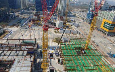 현대건설 판교 알파돔 시티 크레인 충돌 방지 시스템 설치