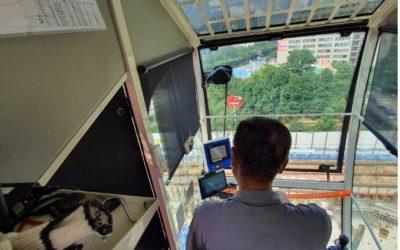 현대건설 용인 수지 힐스테이트 현장 크레인 충돌방지 시스템 도입